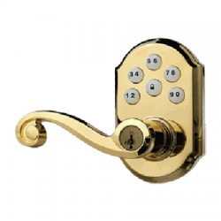99120-004 Linear Z-Wave Kwikset Door Lock - Solid Brass